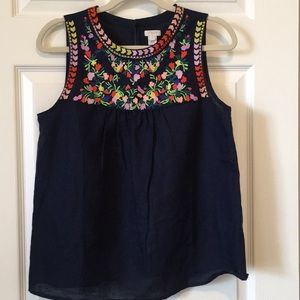 J. Crew Factory 💕 Embroidered Linen Cotton Tank